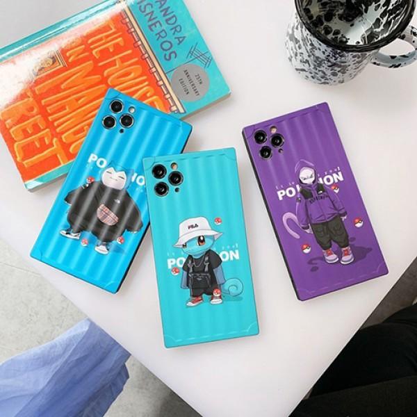 ポケットモンスター iphone 12/12 pro/12 pro max/11/11 pro/11 pro max/se2ケース おしゃれ ミュウツー アニメ風 Snorlax Mewtwo 四角保護 矩形型 シリコンケース インスタグラム風 アイフォン12 mini/x/xs/xr/8/7/6カバー ファッション 人気 メンズ レディース