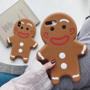 クリスマス風 ジンジャーブレッドマン iphone 12/12 pro/12 pro max/11/se2ケース かわいい 3D柄 シリコンケース iPhone X/XS/XRケース ins風 gingerbread man 耐衝撃 アイフォン8/7/6カバー メンズ レディーズ