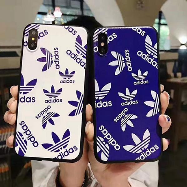 Adidas iphone12/12pro/12mini/12pro max/11ケース ブランド アディダス iphone 11 pro/11 pro max/x/xr/xs maxケース 三つ葉ロゴ付き 運動風  かわいい 四角保護 アイフォン メンズ レディース