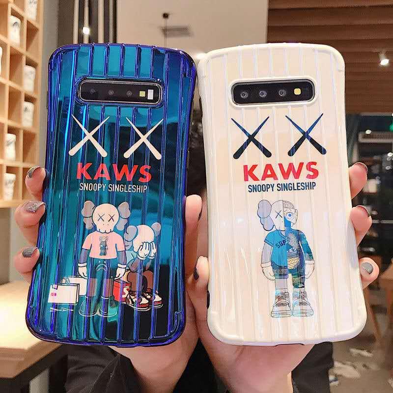 KAWS スヌーピー Galaxy s10/s10+/s9/s9+/s8/s8 plusケース かわいい snoopy カウズ スーツケース型 シリコンケース かっこいい